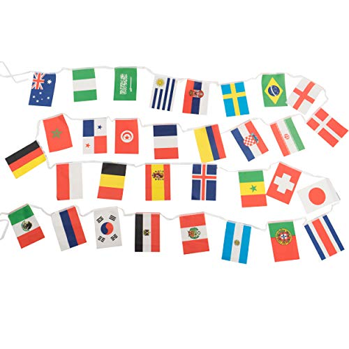 Jetlifee String Flag for 2018 World Cup by U.S. Veterans Owned Biz. Group Match 32 Teams Countries Soccer Decoration Banners for Restaurants, Sport Bars, Decor of Garden Game Night (37 Ft)