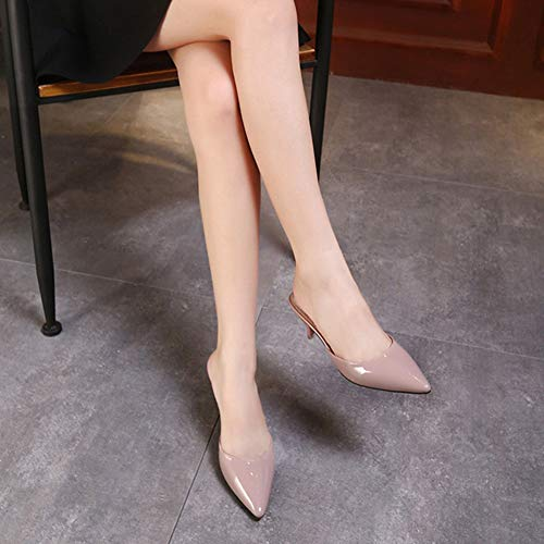 Punta Nudo Slittamento Mulo Rosa Di Donna Stiletto Pistoni Lucido Tallone Rilevato Sandalo Dello Pompe Scorrimento Rwn0Uq56