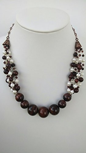 Red tiger eye, freshwater pearl necklace and earring set