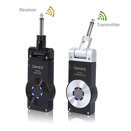 (Getaria 2.4GHZ Wireless Guitar System Transmitter Receiver for Electric Guitar Bass Violin with Rechargeable)
