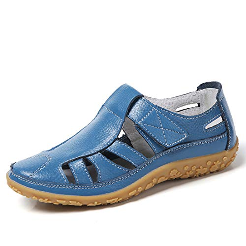 Z.SUO Women's Leather Sandals Flats Comfortable Casual Summer Walking Driving Shoes Fashion Wild Loafers Moccasins Outdoor Sandals(9 US,Blue)