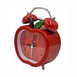 CLARA Cute Apple Shape Time Alarm Clock Retro Clock with Nightlight for Kids Children(Red)