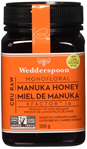 Wedderspoon Raw Premium Manuka Honey KFactor 16, 17.6 Oz, Unpasteurized, Genuine New Zealand Honey,...