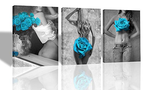 - Ardemy Canvas Wall Art Sexy Women Blue Rose Painting Pictures 3 Panels, Modern Naked Lady Artwork Framed Ready to Hang for Bedroom Bathroom Living Room Salon Wall Decor, 12