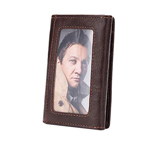 Coin Holder Zipped Purse amp; with Press Men's Pocket Zipper Cowhide Credit HANSHI Banknote Card Wallet Clip H HBZ01 Button SHBFXwq