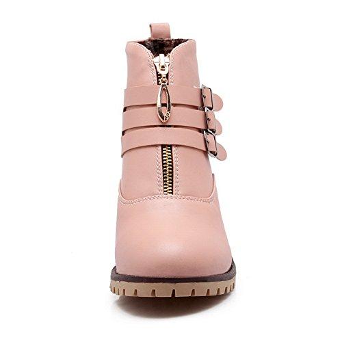 Balamasa Kvinnor Ring Kardborrband Flerskiktsmetallband Zipper Imiterade Läder Stövlar Rosa