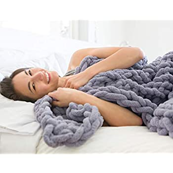 Chunky Knit Luxury Throw Blanket (50 x 60 inches) Large Cable Knitted Premium Soft Cozy Polyester Chenille Bulky Blankets for Cuddling up in Bed, on the Couch or Sofa (Storm Grey)