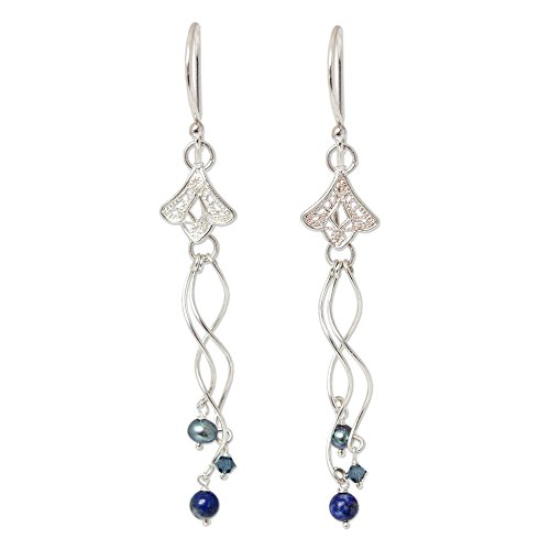 NOVICA Dyed Cultured Freshwater Pearl Flower Earrings with Lapis Lazuli Stones, Filigree Tulips