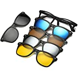 Polarized Mirror Night Vision Glasses 5 Magnetic Clip Black Sunglasses for Men