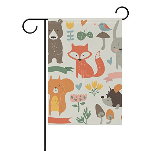 Vantaso House Flag Decorative Forest Animal Bear Fox Squirrel Double Sided Printing Fade Proof for Outdoor Courtyards 28x40 inch