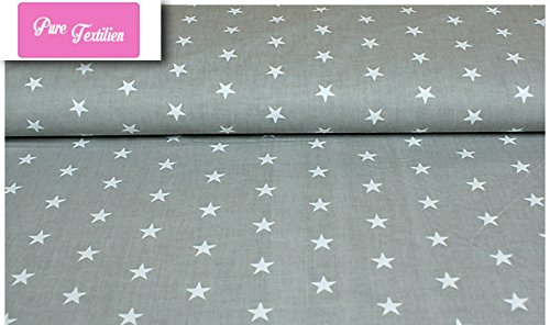 Erstklassiger Baumwollstoff 0,5lfm, 100% Baumwolle, modische Muster, Breite 160cm - Sterne grau Neu