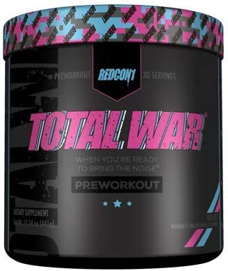 Redcon1 Total War – Pre Workout, 30 Servings, Boost Energy, Increase Endurance and Focus, Beta-Alanine, 350mg Caffeine, Citrulline Malate, Nitric Oxide Booster – Keto Friendly Vice City