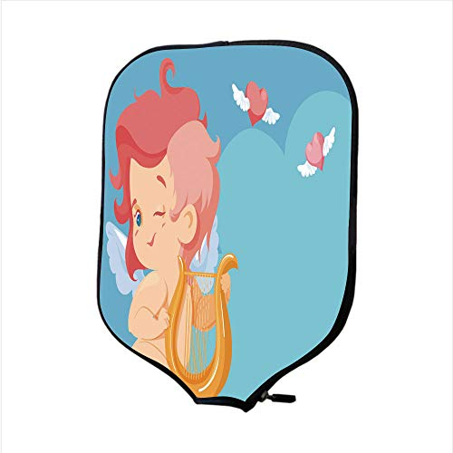 Neoprene Pickleball Paddle Racket Cover Case/Cupid Playing Music to Flying Hearts with Handwritten Quotation of Shakespeare/Fit for Most Rackets - Protect Your Paddle