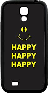 Rikki KnightTM Happy\xa0Happy Happy Yellow Smiley Design Samsung\xae Galaxy S4 Case Cover (Black Hard Rubber TPU with Bumper Protection) for Samsung Galaxy S4