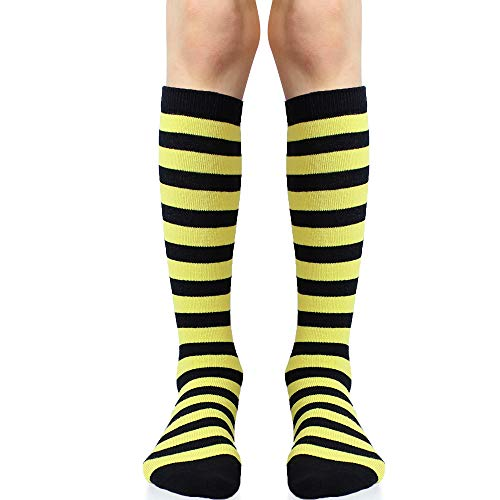 juDanzy Knee High Socks with Grips for Babies, Toddlers and Children (1 Pair) (4-6 Years, Yellow and Black Bee Stripe)