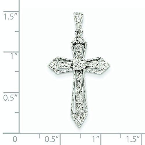 Or blanc 14carats Diamant Passion Croix Pendentif-Dimensions 36,5x 19,5mm