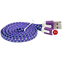 Shalleen (10FT/3M Extra Long) Strong Flat Braided Charger Cable Data Sync Charge Cord For iPhone 5 5S SE 6S 6+ (Purple)