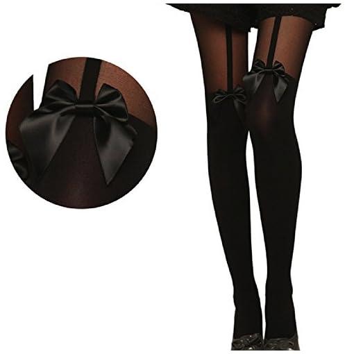 Sharondar-Vintage-Collant-Bow-Calze-Tatuaggio-Mock-Bow-bretella-calze-velate