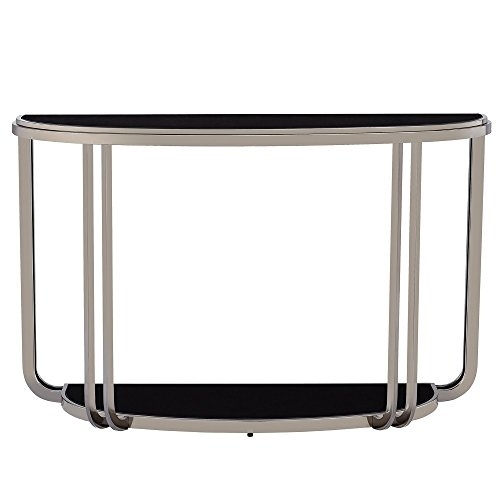 (Modern Edison Black Nickel Plated Console Sofa Table with Tempered Glass Top Semi-circle Shape Black)