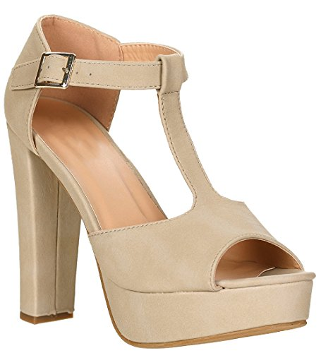 platform pumps 1 Table Top Nubuck T chunky strap Moda Women's buckle toe back nubuck peep Beige heel closed FqppC4x