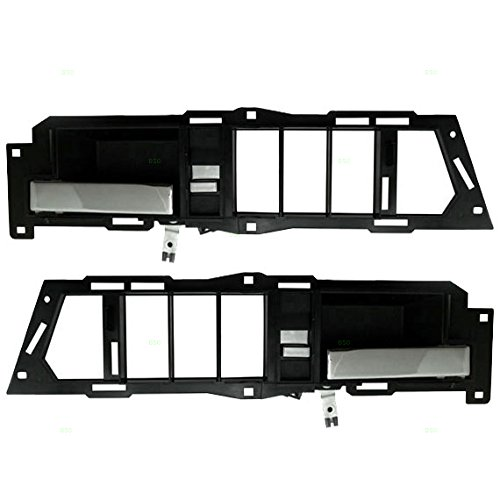 Pair Set Front Inside Door Handles Black Base w/Chrome Levers Replacement for GMC Chevrolet Pickup Truck SUV 22086873 22086874 AutoAndArt