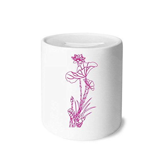 Reed Item Number - DIYthinker Lotus Leaf Lotus Flower Reed Flower Plant Money Box Saving Banks Ceramic Coin Case Kids Adults
