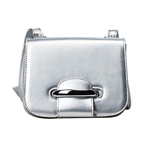 Moda Simple Señoras Pequeña Todo-fósforo Trabajo Compras Bolso De Hombro Inclinado Bolsas Silver
