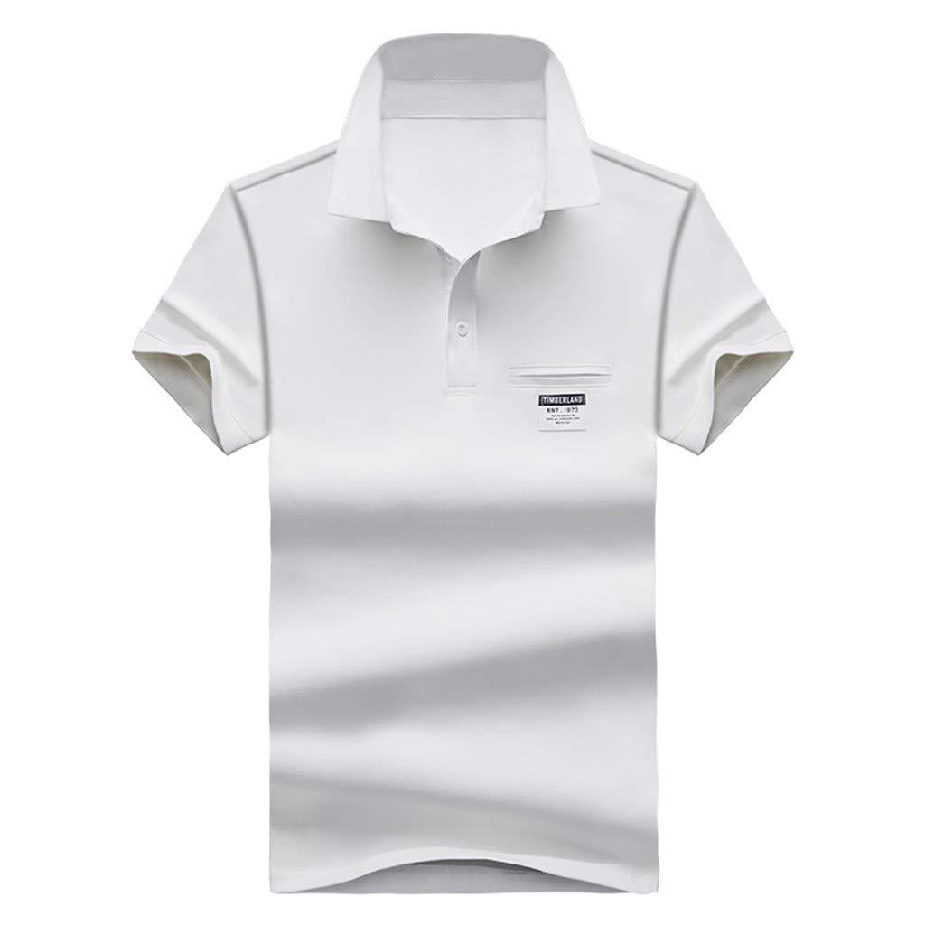 Mens Summer Fashion Lapel Cotton Short Sleeves Comfortable Blouse Top