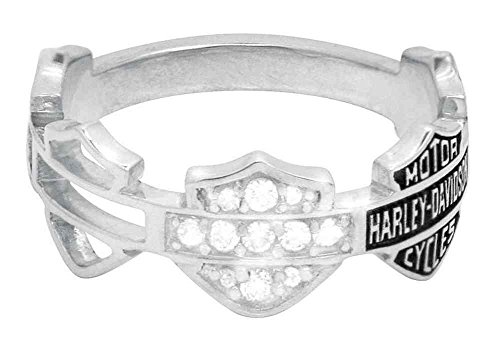 Harley-Davidson Women's Ring, Multi Bar & Shield Logo Band, Silver HDR0227 - Harley Jewelry