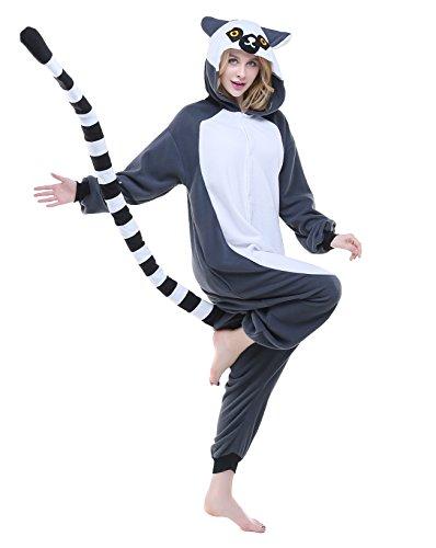 Lemur Costumes (NEWCOSPLAY Unisex-Adult Christmas Onesie Pajamas Halloween Cosplay Costume (S, lemur catta))