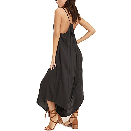 May&Maya Women's Adjustable Straps All In One Midi Jumpsuit (M, Black)