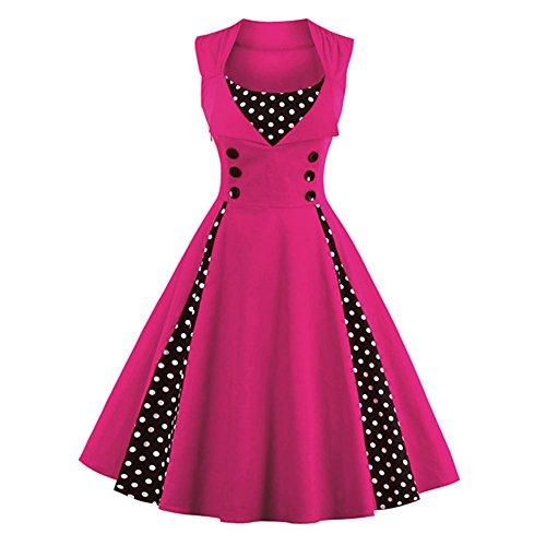 Pinkyee - Vestido - trapecio - para mujer Rosa Roja