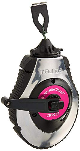 TAJIMA Chalk Box - Chalk-Rite Dura Snap-Line with 100ft Extreme Bold 1.8 mm Chalk Line & Integrated Handle Release - CR503S