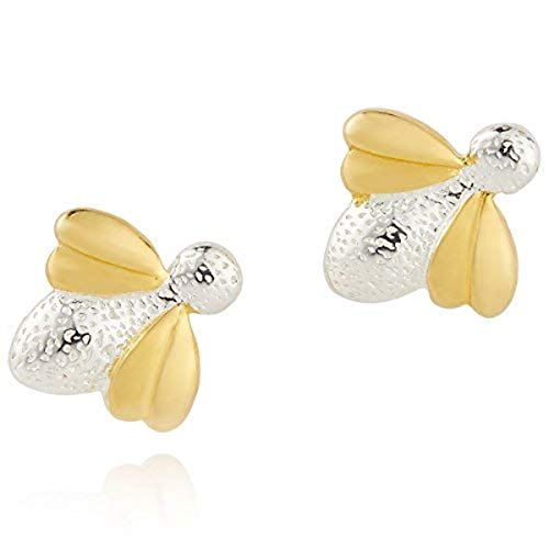 925 Sterling Silver & 9ct Gold Vermeil Honey Bee First Pair Stud Earrings for Girls - Perfect Children's Gift arrives with Luuxry Jewelry Box
