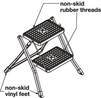 2 Step Stool by Hafele, 330 lbs load capacity, heavy duty, folding, White/Gray, 465mm by Hafele (Image #3)