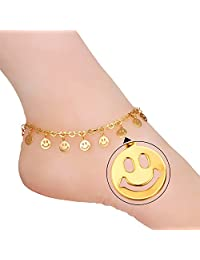 Women Fashion Anklet Smiley Face Ankle Chain Foot Jewelry Acessory