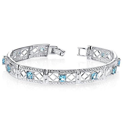 London Blue Topaz Bracelet Sterling Silver 4.00 Carats Victorian Style