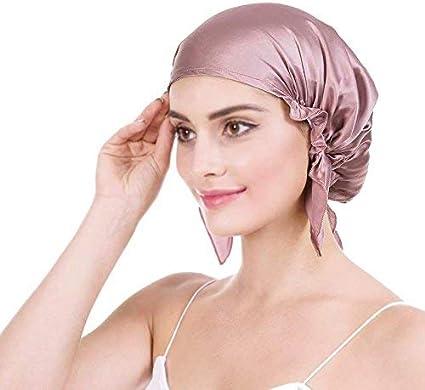 Emmet Gorro de Dormir Mujer 100% Pura Seda Sombrero para Dormir elástico Hace Que tu Cabello se Sienta Sedoso y Mantiene el Estilo