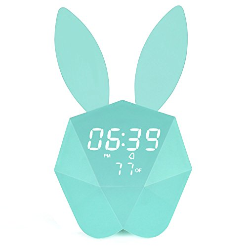 Bunny Rabbit Alarm Clock LED Night-Light Voice Control Sound Sensitive Time Temperature Digital Display Strong Magnetic Adsorption Li-ion Battery Rechargeable Baby Gift (Macaron Blue) -
