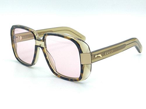 Gucci GG 0318 S- 003 HAVANA/PINK GREEN Sunglasses