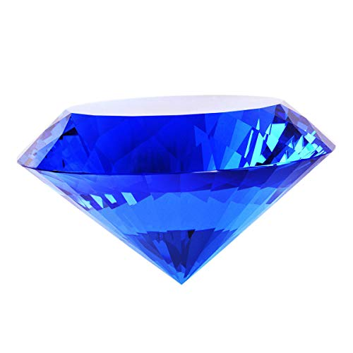 (Blue Crystal Glass Diamond Shaped Decoration 80mm Jewel Paperweight)