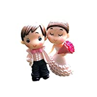 Huasen 1Pair Mini Groom and Bride Figures Miniature Fairy Garden Ornaments-Pink