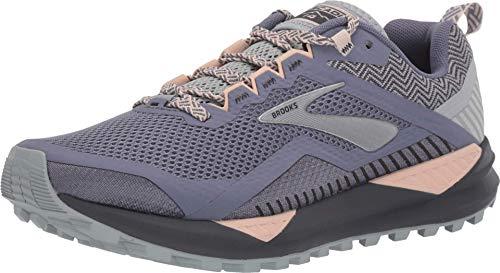 Brooks Women's Cascadia 14 Grey/Pale Peach/Pearl 9 B US (Brooks Cascadia 2189 Trail Running Shoes Womens)