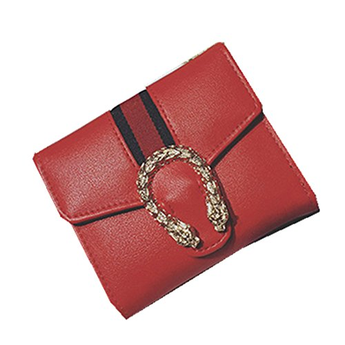 Vicue Small Compact Bi-fold PU Leather Pocket Wallet (Red)