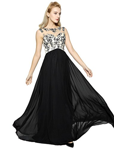 Evening Designer Prom Ball Gown - GEORGE BRIDE 2017 New Elegant Black Evening Dress Long Prty Gowns Bridesmaid Dresses (Black, 8)