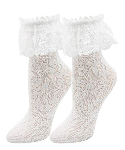 Lovful Women's Lace Anklet Sock with Ruffle, 2 Pairs Set,White