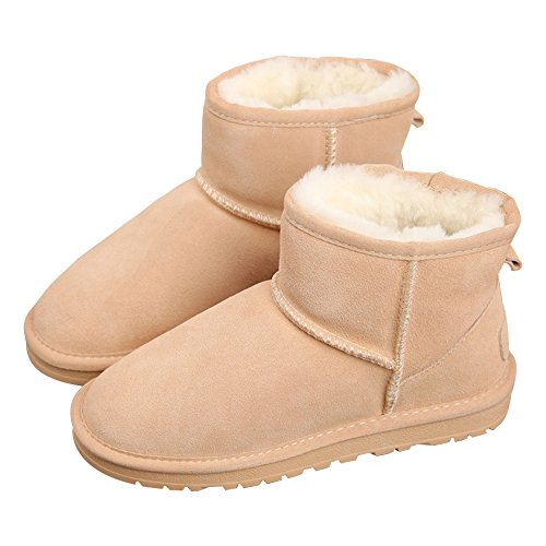 Boots Short Snow Skid Winter Shoes Flat Eastlion Thick Boots Anti Sole Lined Boots Classic Warm Beige Women's Fur qRq1x6UP