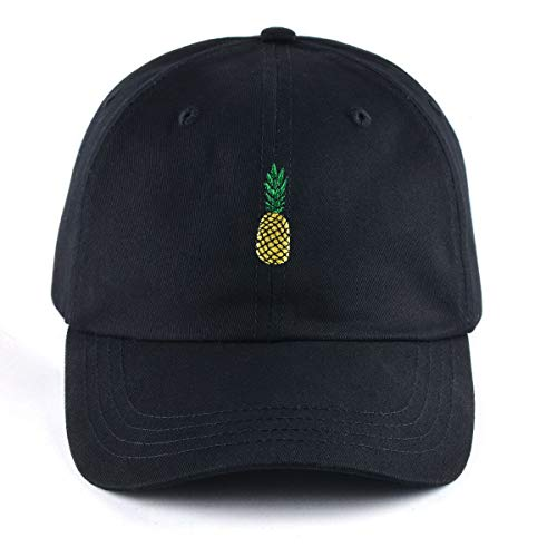 AUNG CROWN Pineapple Embroidered Dad Hat Cotton Women Men Cute Adjustable Baseball  Cap (Black) e936dceafd19