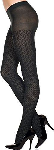 ToBeInStyle Women's Reversible Double Helix Designed Nylon Tights Hosiery - Black Womens Helix Tights