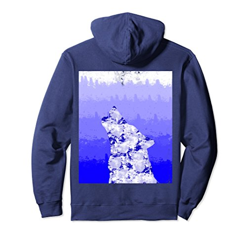 Unisex Wolf hoodie Blue Watercolor gradiant animal nerdy geeky Small - Gradiant Blue